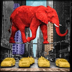 Crossing 5th Avenue by Lars Tunebo - Paper On Board sized 20x20 inches. Available from Whitewall Galleries